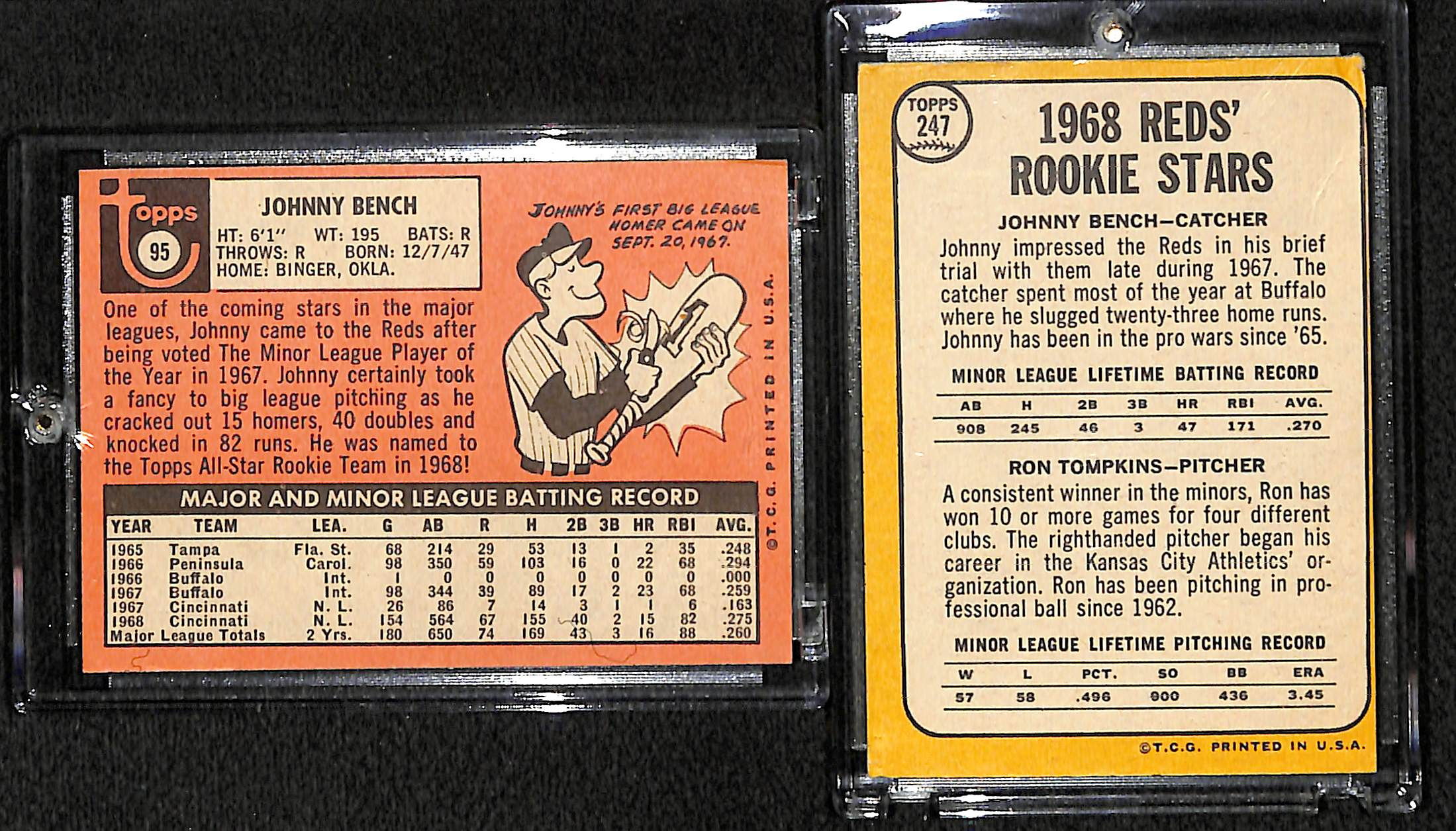 Lot Detail Lot Of 2 Johnny Bench Cards 1968 Rookie 1969