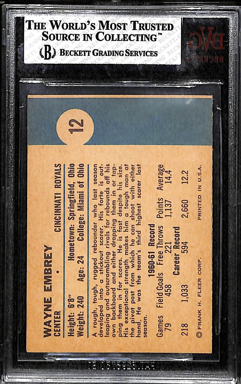 Lot Detail 1961 62 Fleer 12 Wayne Embry Rookie Card BVG 8