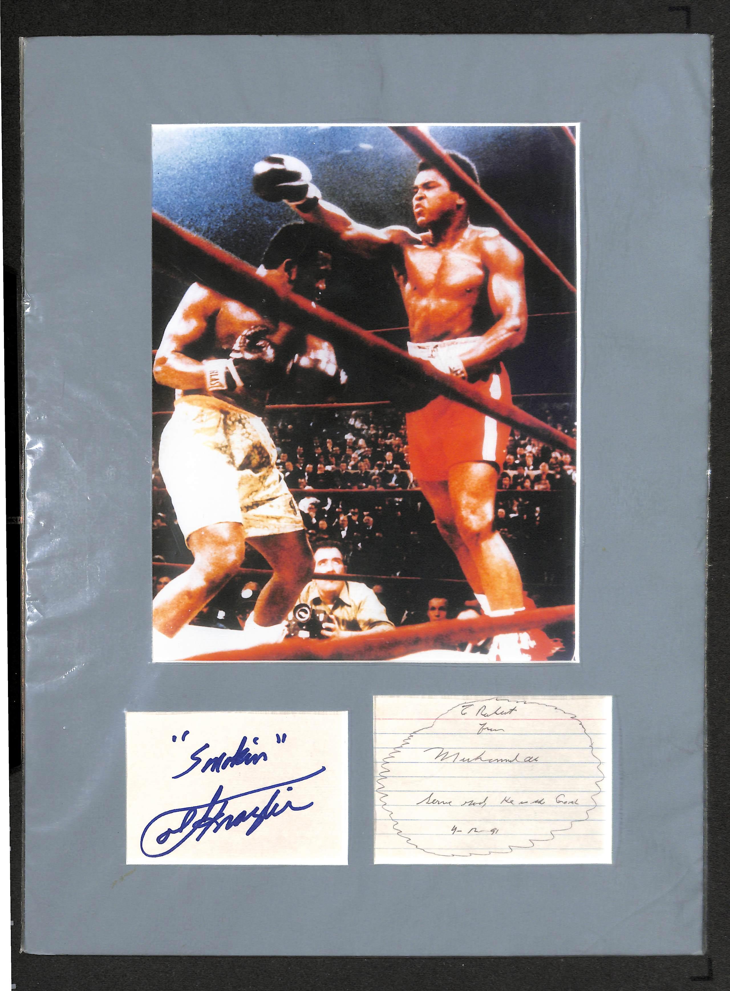 b922da5d12c Lot Detail - Muhammad Ali   Joe Frazier Cut Autograph Matted Display