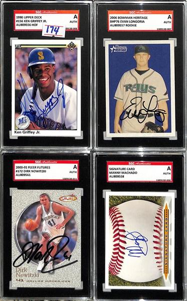 Lot Detail Lot Of 4 Signed Sports Cards Ken Griffey Jr