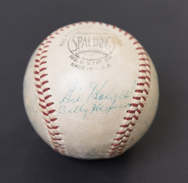 1957 Brooklyn Dodgers Team Signed Baseball w. Roy Campanella Pre-Accident Signature