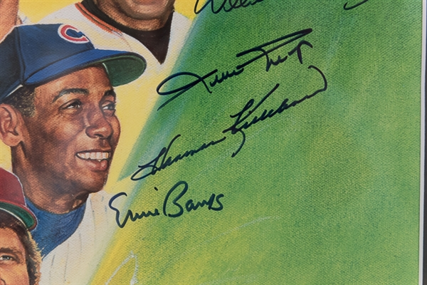 500 Home Run Club Signed & Framed Photo - 12 Autographs inc. Mickey Mantle, & Artist Ron Lewis!