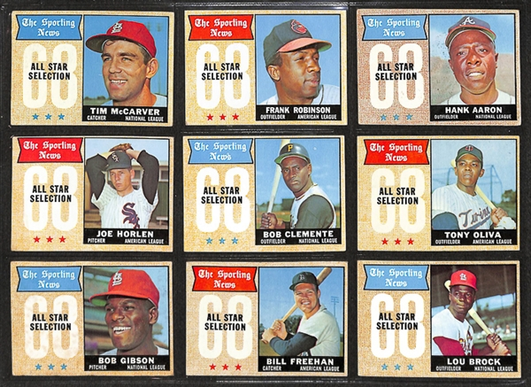 1968 Topps Baseball Complete Set w. BVG Mantle 6.0 & BVG Ryan 5.0
