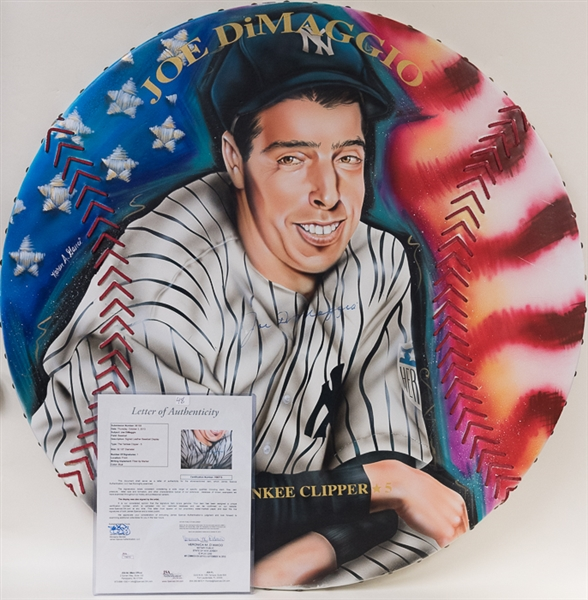 Large 1/1 Original Painting Of Joe DiMaggio Signed By DiMaggio & Famous Sports Artist Karen O'Neil Ganci (JSA LOA)