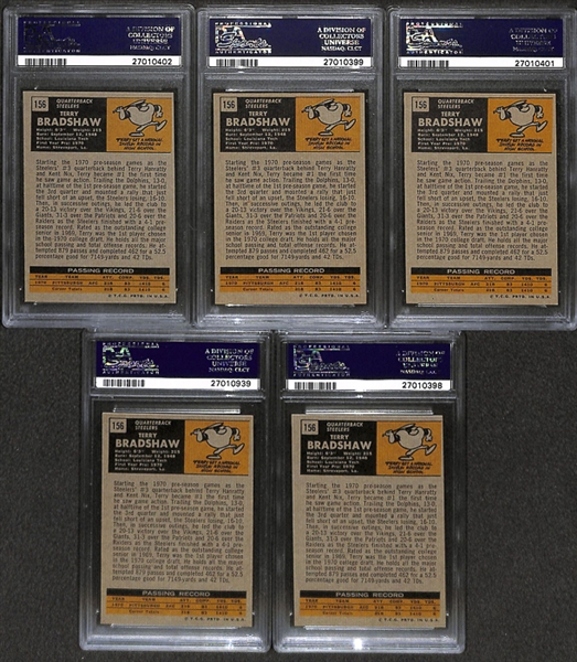 Lot of 5 1971 Topps #156 Terry Bradshaw Rookie Cards - PSA 8(OC)/7/5/4