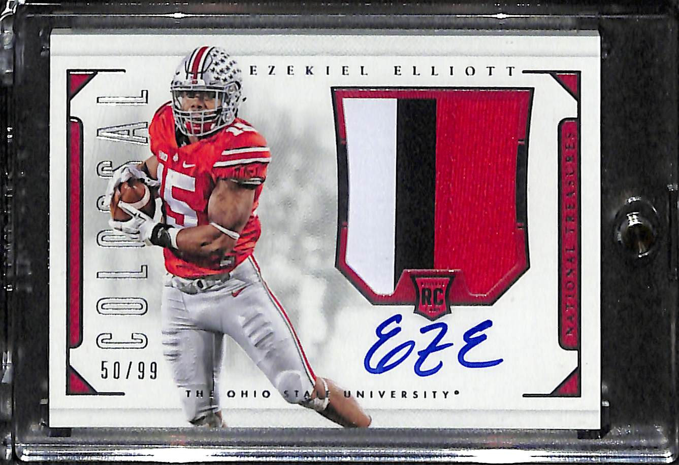 1780453ec00 2016 National Treasures Ezekiel Elliott Autographed Rookie Card w/ Colossa  3-Color Patch ...