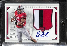2016 National Treasures Ezekiel Elliott Autographed Rookie Card w/ Colossa 3-Color Patch #ed 50/99 (Ohio State and Dallas Cowboys)