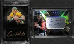 Lot of (2) Carson Wentz Autographed Rookie Cards (Panini Infinity #ed  71/288, and Black Gold #ed 95/99)
