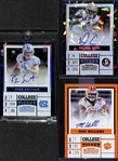 Lot of (3) 2017 Panini Contenders Certified Autograph Football Rookies (Dalvin Cook #/23; Ryan Switzer #/23; and Mike Williams)