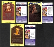 Eddie Matthews, George Kell, and Bobby Doerr Signed Baseball Hall of Fame Plaque Post Cards (w/ JSA COAs) - Lot of (3)