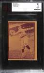 1931 W517 #4 Babe Ruth (Throwing) Graded BVG 1 Poor
