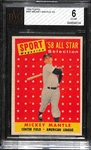 1958 Topps #487 Mickey Mantle All Star Graded BVG 6 (EX-MT)