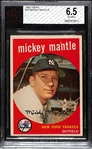 1959 Topps #10 Mickey Mantle Graded BVG 6.5 (EX-MT+)