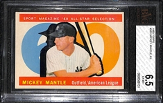 1960 Topps #563 Mickey Mantle All-Star Graded BVG 6.5 (EX-MT+)