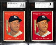 Lot of (2) 1961 Topps #475 Mickey Mantle MVP Cards (Graded BVG 5.5 and 4.0)
