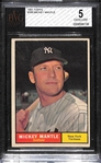 1961 Topps #300 Mickey Mantle Graded BVG 5 (EX)
