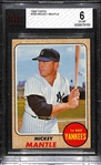 1968 Topps #280 Mickey Mantle Graded BVG 6 (EX-MT)