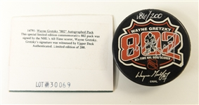 Wayne Gretzky Signed Limited Edition Hockey Puck #186/200 - UD Authenticated