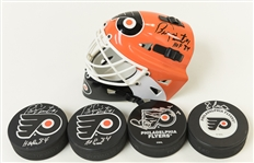 Lot of 5 Flyers Autographed Items - Bernie Parent, Eric Lindros & Bill Barber