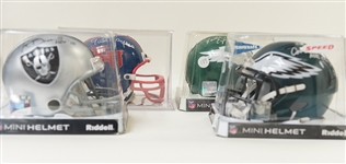 Lot of 4 Signed Football Mini Helmets w. Sayers, T. Brown, Cunningham, & Vermiel