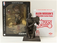 Lot of (3) 76ers Items (Wilt Chamberlain Figurine and Iverson Bobble Head & Bank)