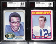Walter Payton and Roger Staubach Graded Rookie Cards