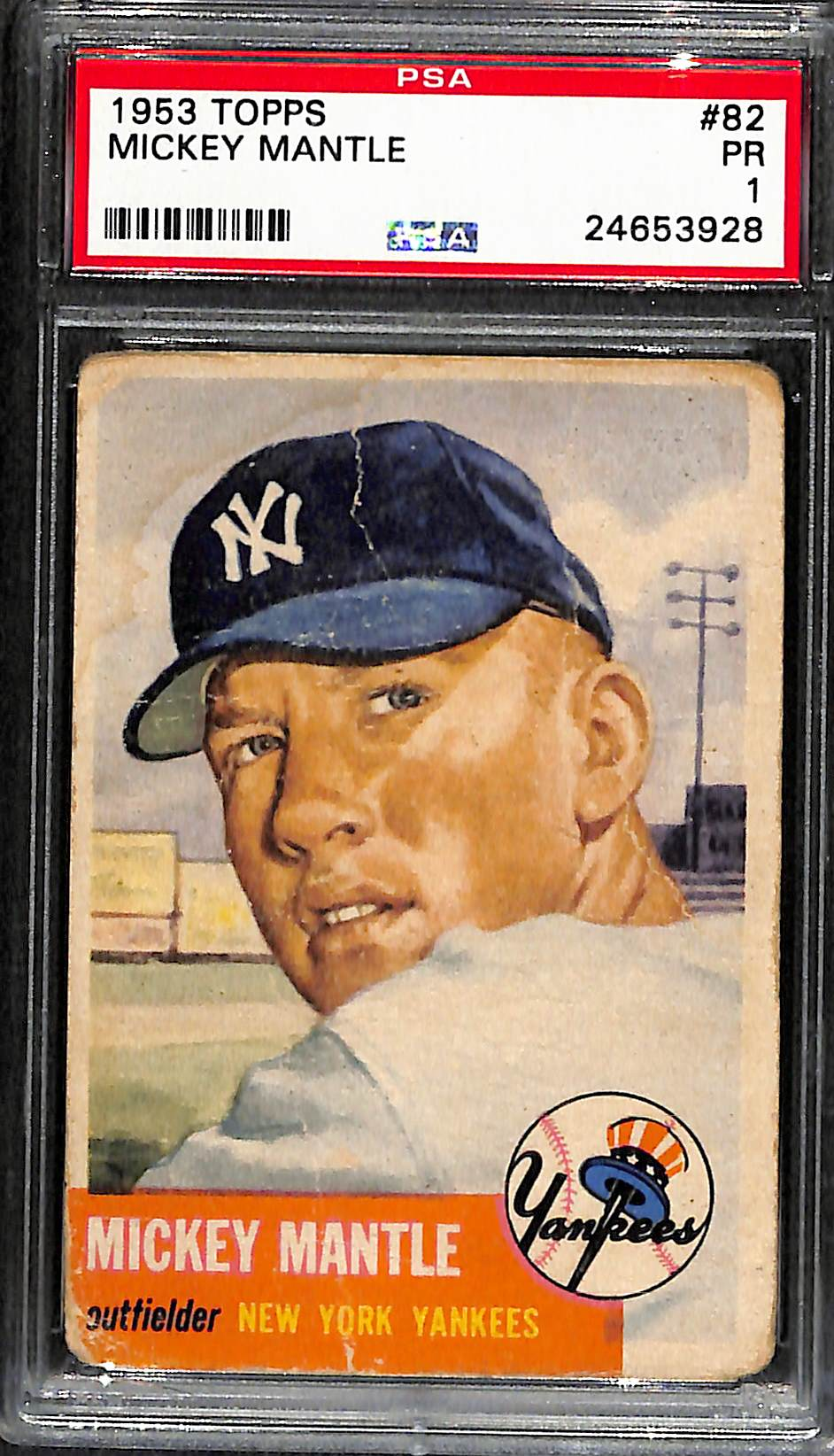 Lot Detail 1953 Topps Mickey Mantle 82 Graded Psa 1 Pr