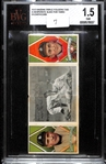 "1912 Hassan Triple Folder T202 Ty Cobb & Chas. OLeary ""A Desperate Slide for Third"" BVG 1.5 FR"