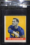 1948 Leaf Sid Luckman (#1) Rookie (Chicago Bears) - RARE HOF Rookie Graded Beckett BVG 2.5 Raw