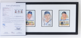 Framed & Autographed Mickey Mantle, Joe DiMaggio, and Ted Williams Perez Steele Postcards (JSA)