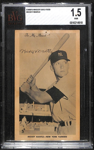 1950s Mascot Dog Food Mickey Mantle (The First Time This Card Has Come to Market!) - BVG 1.5