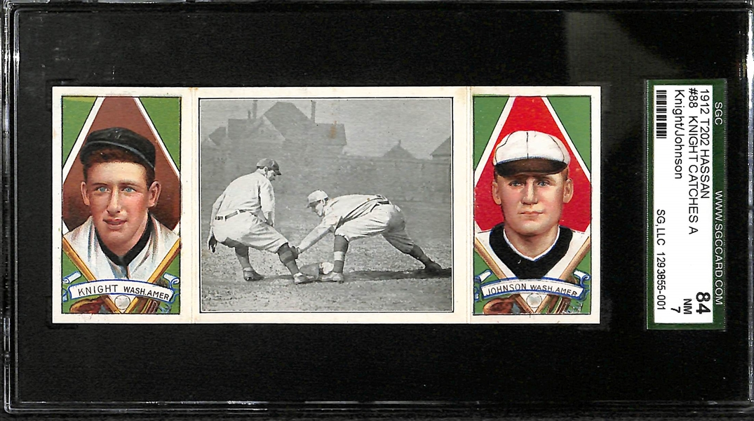 1912 T202 Hassan Triple Folder Walter Johnson & Knight SGC 84 (7) Near Mint - RARE High Grade