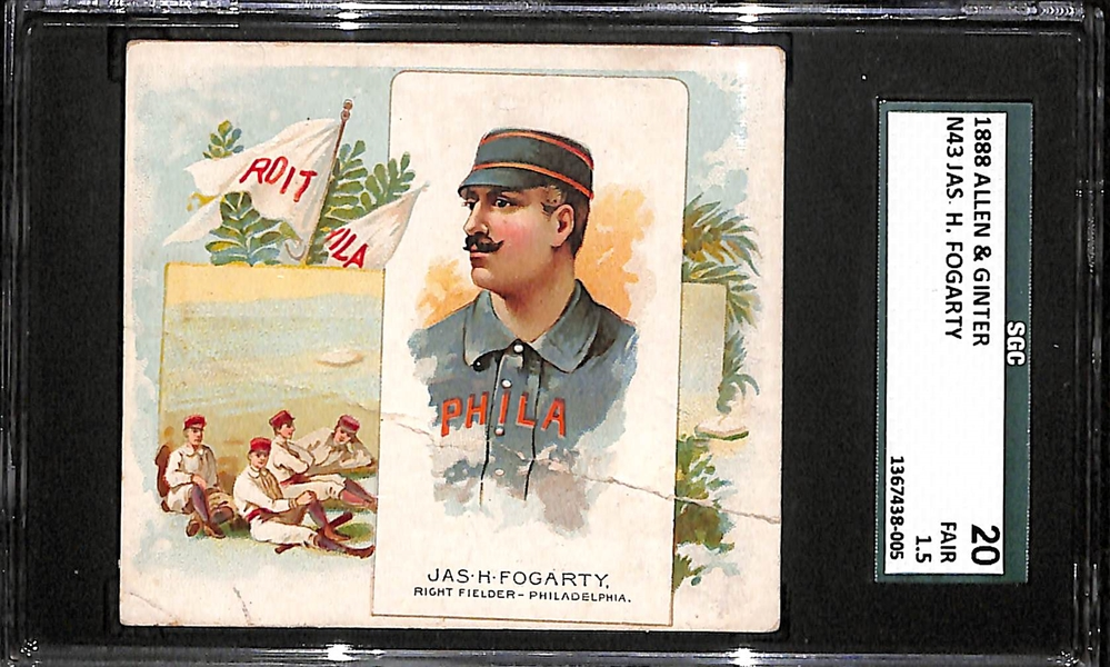 1888 Allen & Ginter N43 Jas H. (Jim) Fogarty SGC 20 (RARE FULL CARD) Philadelphia Quakers (Once Stole 102 Bases in One Season; Died at 27 Years Old)