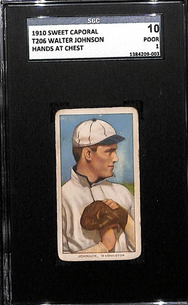 1910 T206 Walter Johnson HOF (Hands at Chest) Sweet Caporal Back SGC 10 (1) PR