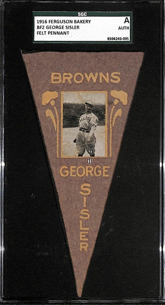 1916 Ferguson Bakery BF2 Felt Pennant George Sisler (Browns) SGC Authentic