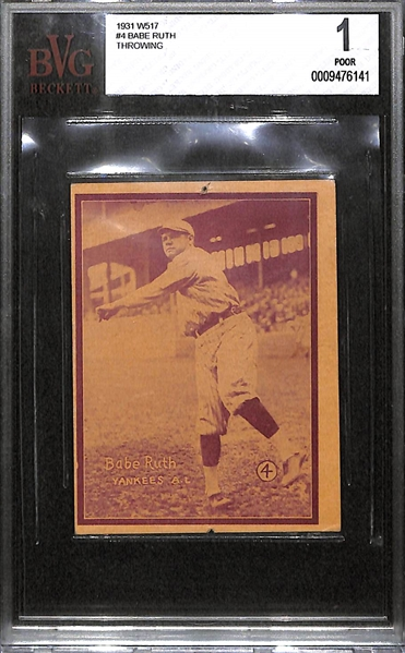 1931 W517 Babe Ruth #4 (Throwing) Graded BVG 1