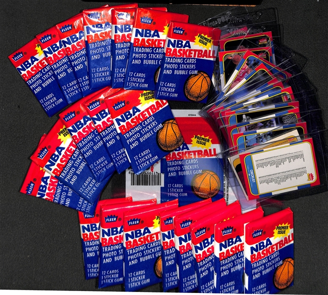 20 Sealed 1986-87 Fleer Basketball Packs With Original Box
