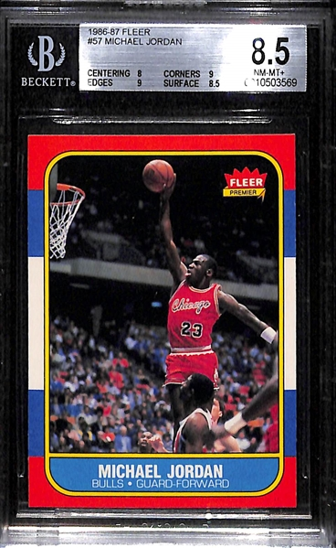 1986-87 Fleer Michael Jordan Rookie Card (#57) - Graded BGS 8.5 NM-Mint+