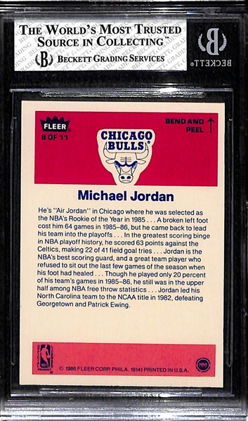 1986-87 Fleer Michael Jordan Rookie Sticker Graded BGS 7.5 NM+