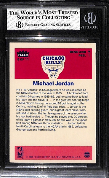 1986-87 Fleer Michael Jordan Rookie Sticker Graded BGS 6.5 EX-MT+