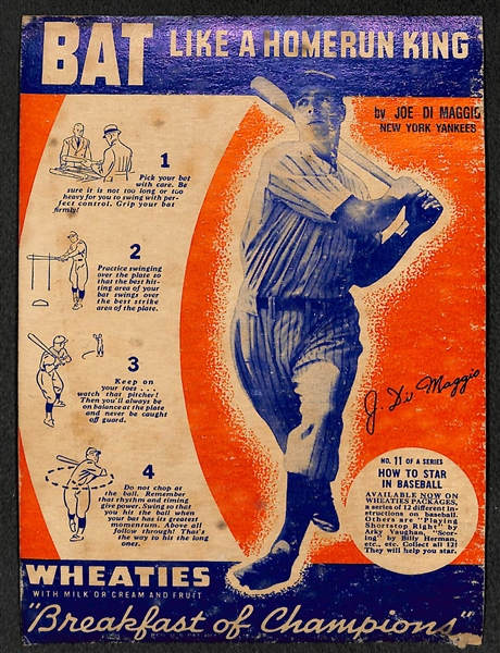 1937 Joe DiMaggio Wheaties Panel Card (RARE) Bat Like a Home Run King