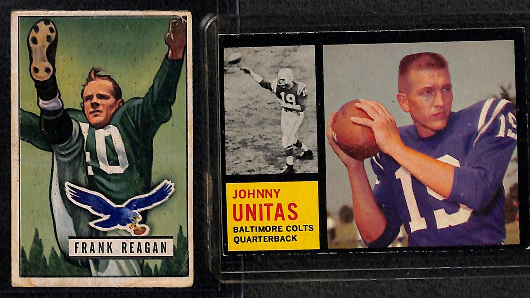 (8) Vintage Football Cards 1951-1969 Inc. 1962 Topps Unitas (#1) and 1951 Bowman Doak Walker