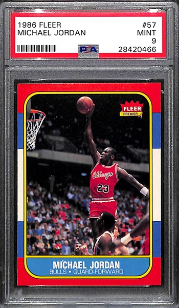 High Grade PSA 9 1986-87 Fleer Michael Jordan Rookie Card (#57) - MINT!