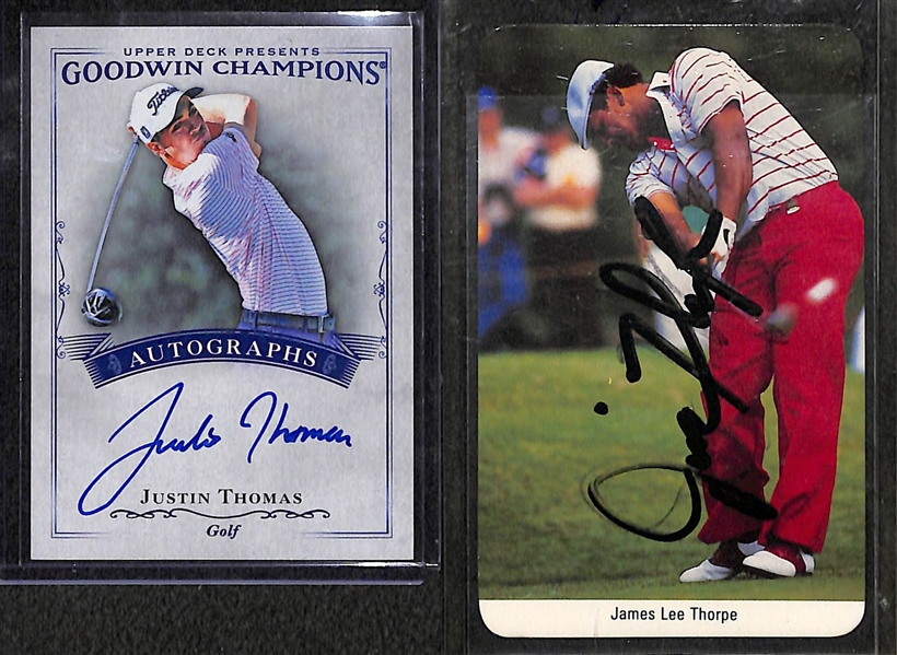 (2) Gold Cards - Justin Thomas 2016 Goodwin Champions Autograph and Jim Thorpe (Golfer) Signed Card