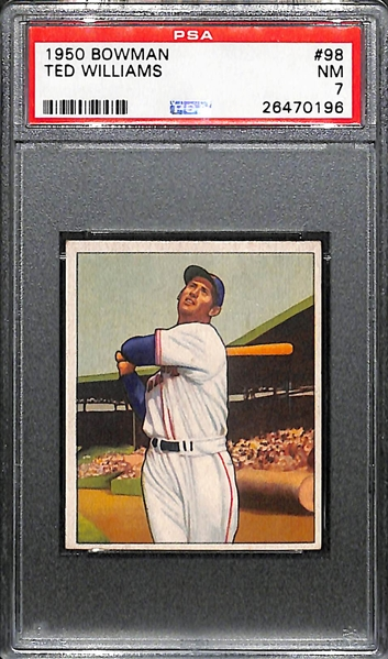 1950 Bowman Ted Williams #98 Graded PSA 7 (Near Mint)