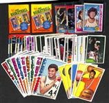 Lot of 2 Sealed 1980-1981 Topps Basketball Packs, and 70 Topps & Fleer Basketball Cards from 1974-74 & 1986-87