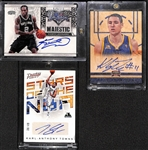 Lot OF 3 Basketball Stars Autograph Cards w. Leonard - Thompson - Towns