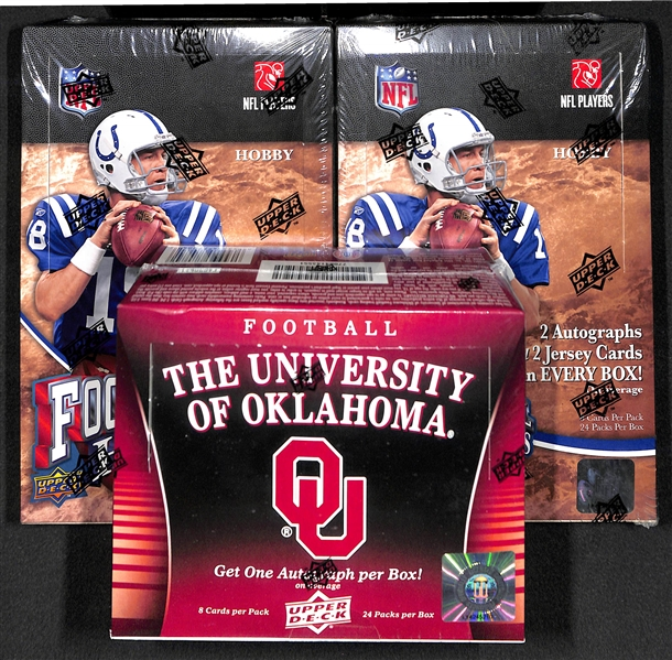 Lot Of 3 Sealed Football Wax Boxes w. (2) 2009 Upper Deck Heroes