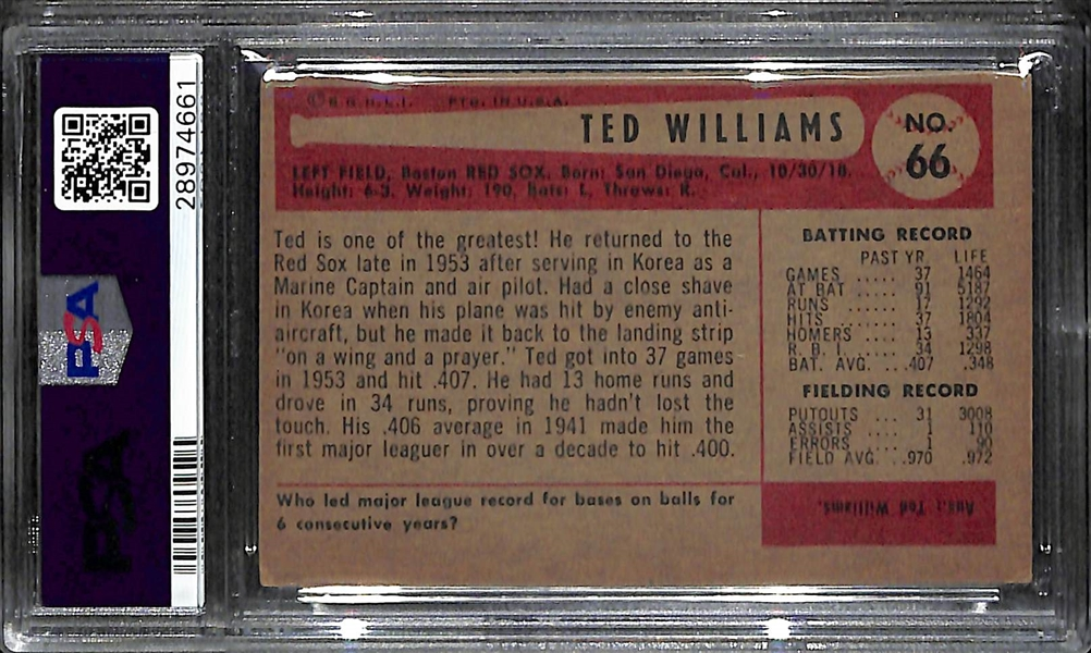 1954 Bowman Ted Williams Card (#66) Graded PSA 4 (VG-EX)