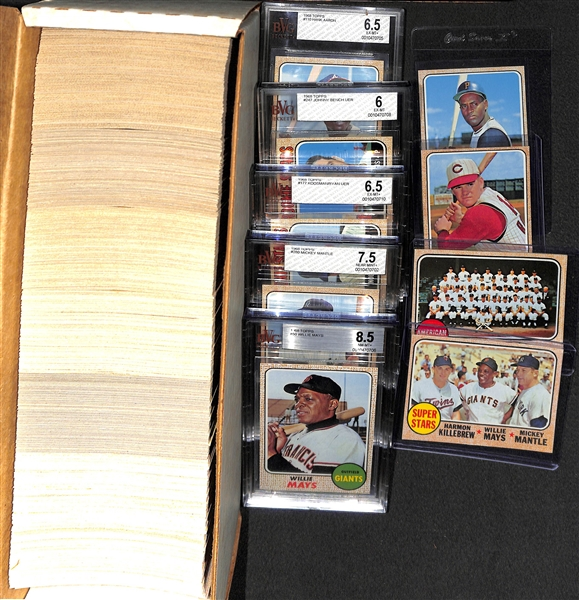 1968 Topps Baseball Complete Set (Inc. Mays BVG 8.5, Mantle BVG 7.5, Ryan RC BVG 6.5) - Fresh From the Pack Condition